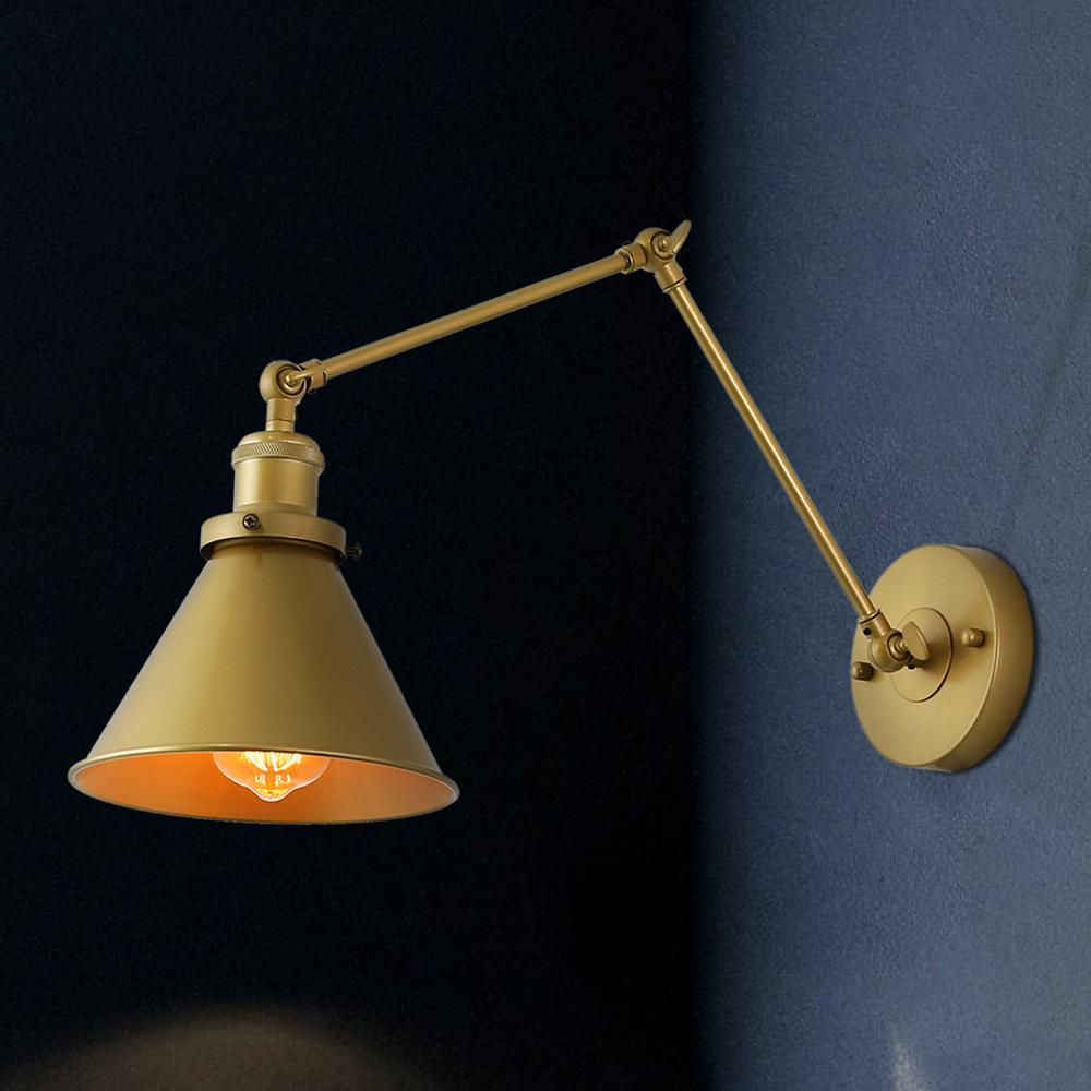 Lnc 1 Light Modern Hand Painted Gold Wall Lamp Adjustable Plug In Wall Sconce With Swing Arm A03468 The Home Depot