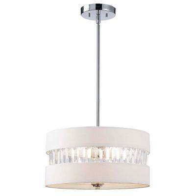 Ballard 3-Light Chrome Chandelier with White Fabric Shade and Acrylic