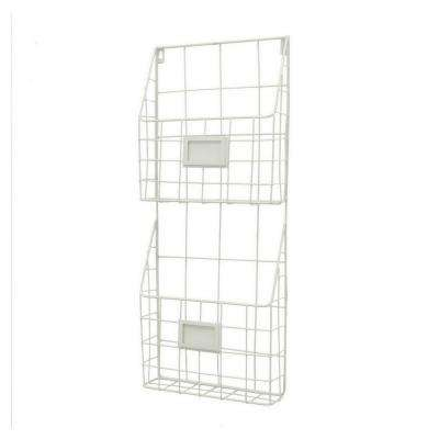 23.75 in. White Metal Wall Rack
