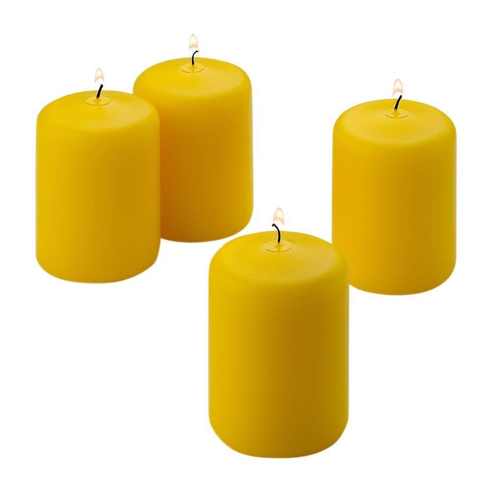 3 in. x 3 in. Yellow Citronella Scented Pillar Candle (Set