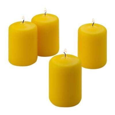 3 in. x 3 in. Yellow Citronella Scented Pillar Candle (Set of 4)