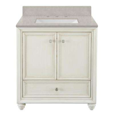 Dellwood 31 in. W x 22 in. D Bath Vanity in Antique White w/ Engineered Marble Vanity Top in Dunescape w/ White Sink
