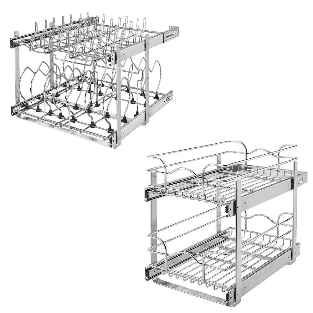 Home Depot Kitchen Cabinet Organizers Rev A Shelf 21 in. 2 Tier CabiOrganizer and 18 in. Pull Out 2