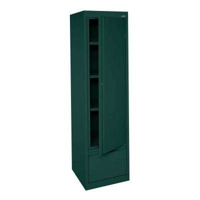 System Series 17 in. W x 64 in. H x 18 in. D Single Door Storage Cabinet with File Drawer in Forest Green