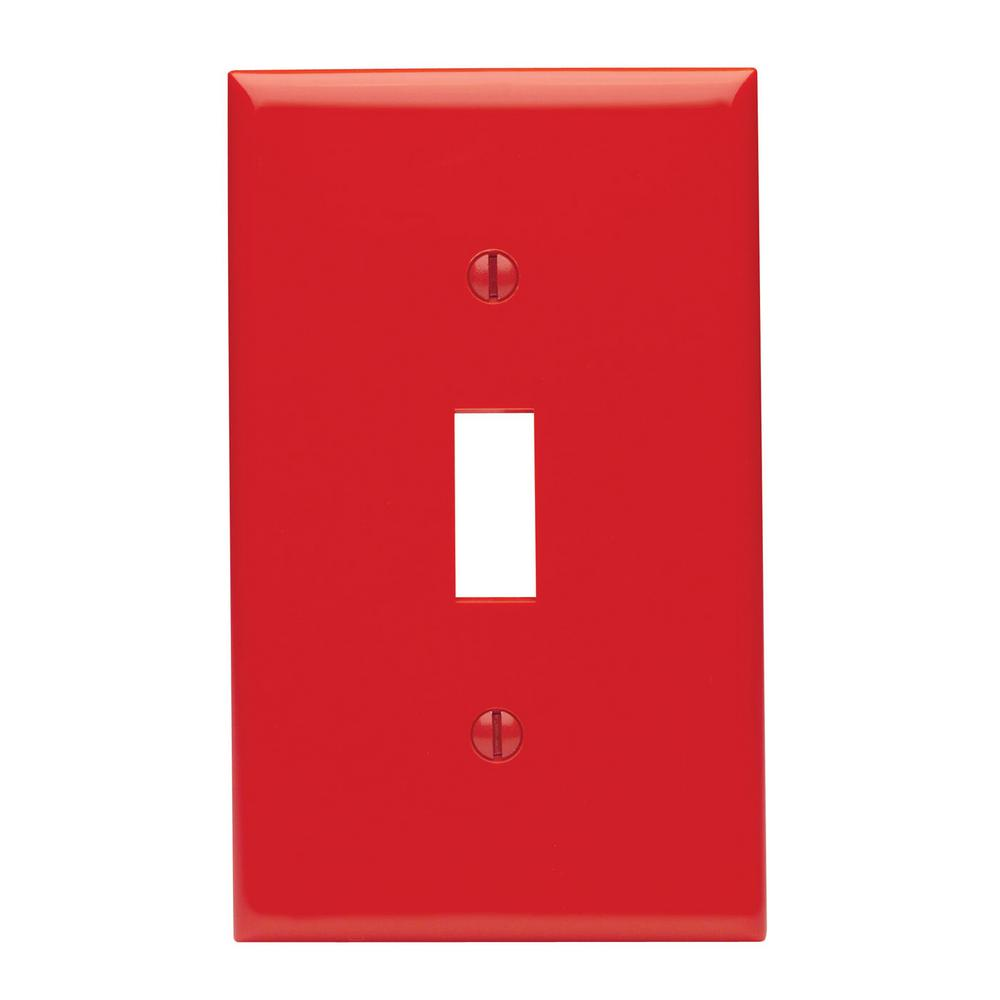 1-Gang 1-Toggle Standard Size Heavy Duty Nylon Wall Plate, Red