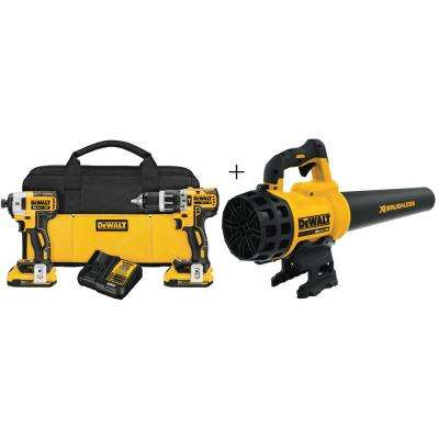 20-Volt MAX XR Lithium-Ion Cordless Brushless Hammer Drill/Impact Combo Kit (2-Tool) with Bonus Handheld Leaf Blower