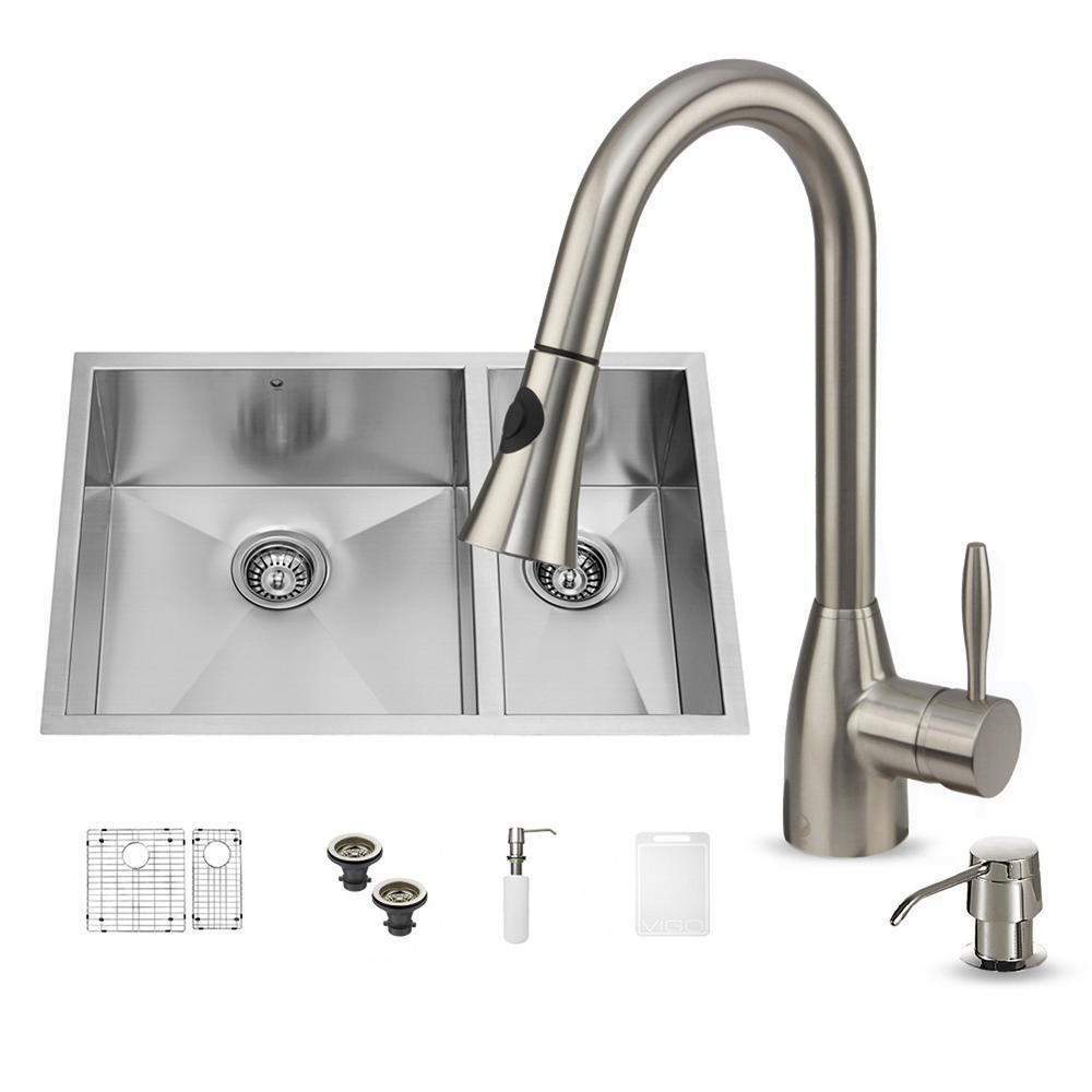 VIGO All-in-One Undermount Stainless Steel 29 in. Double Basin Kitchen Sink in Stainless Steel