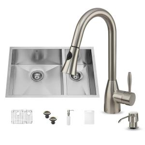 allinone undermount stainless steel 29 in double basin kitchen sink in - Undermount Kitchen Sinks