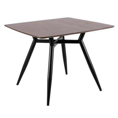 Clara Black Metal and Walnut Wood Square Dining Table