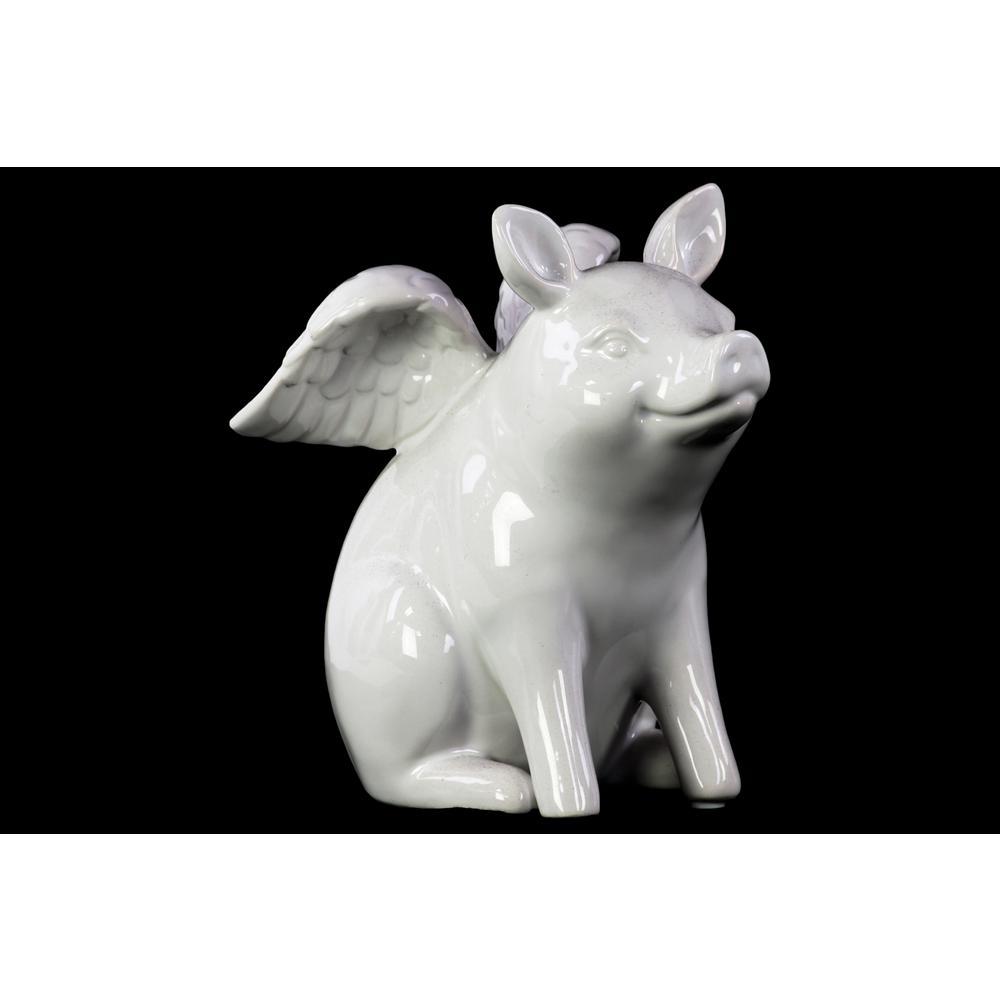 6.25 in. H Pig Decorative Figurine in White Gloss Finish