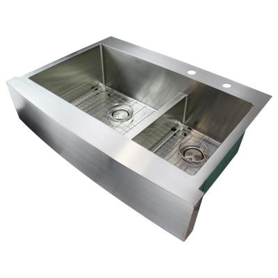 Diamond Farmhouse/Apron-Front Stainless Steel 36 in. 2-Hole Double Offset Bowl Kitchen Sink in Brushed
