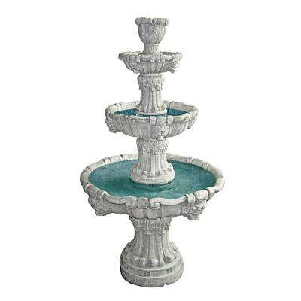 Medici Lion Stone Bonded Resin 4 Tier Fountain in Stone