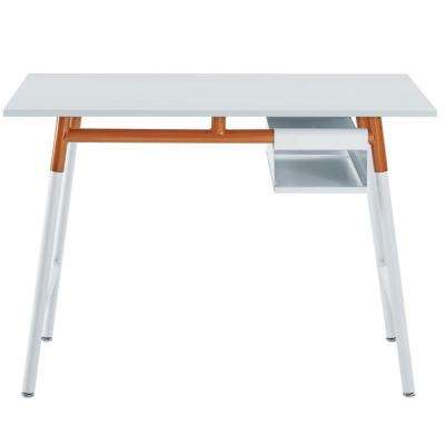 Respite White Orange Wood Writing Desk