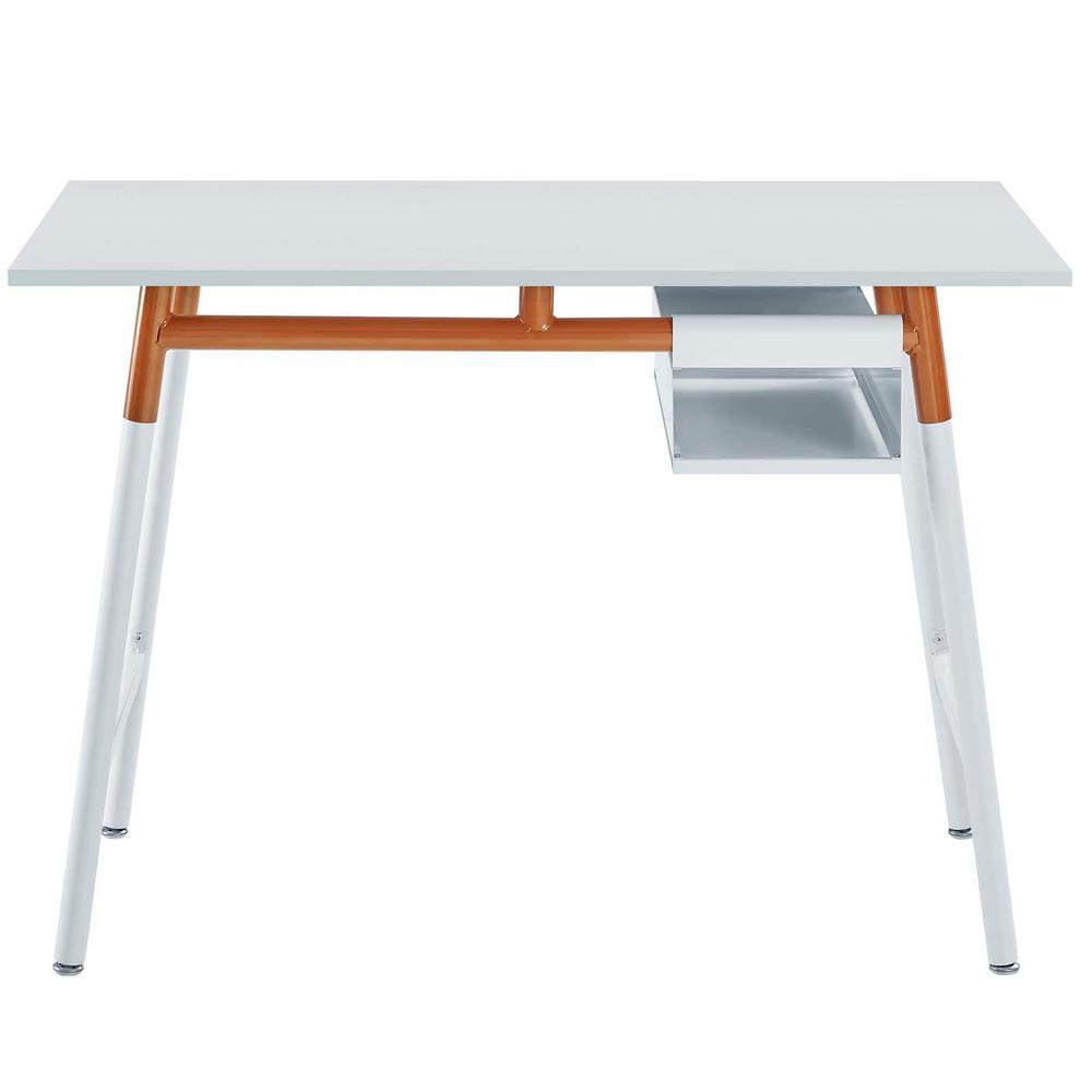 MODWAY Respite White Orange Wood Writing Desk EEI-2787-WHI-ORA
