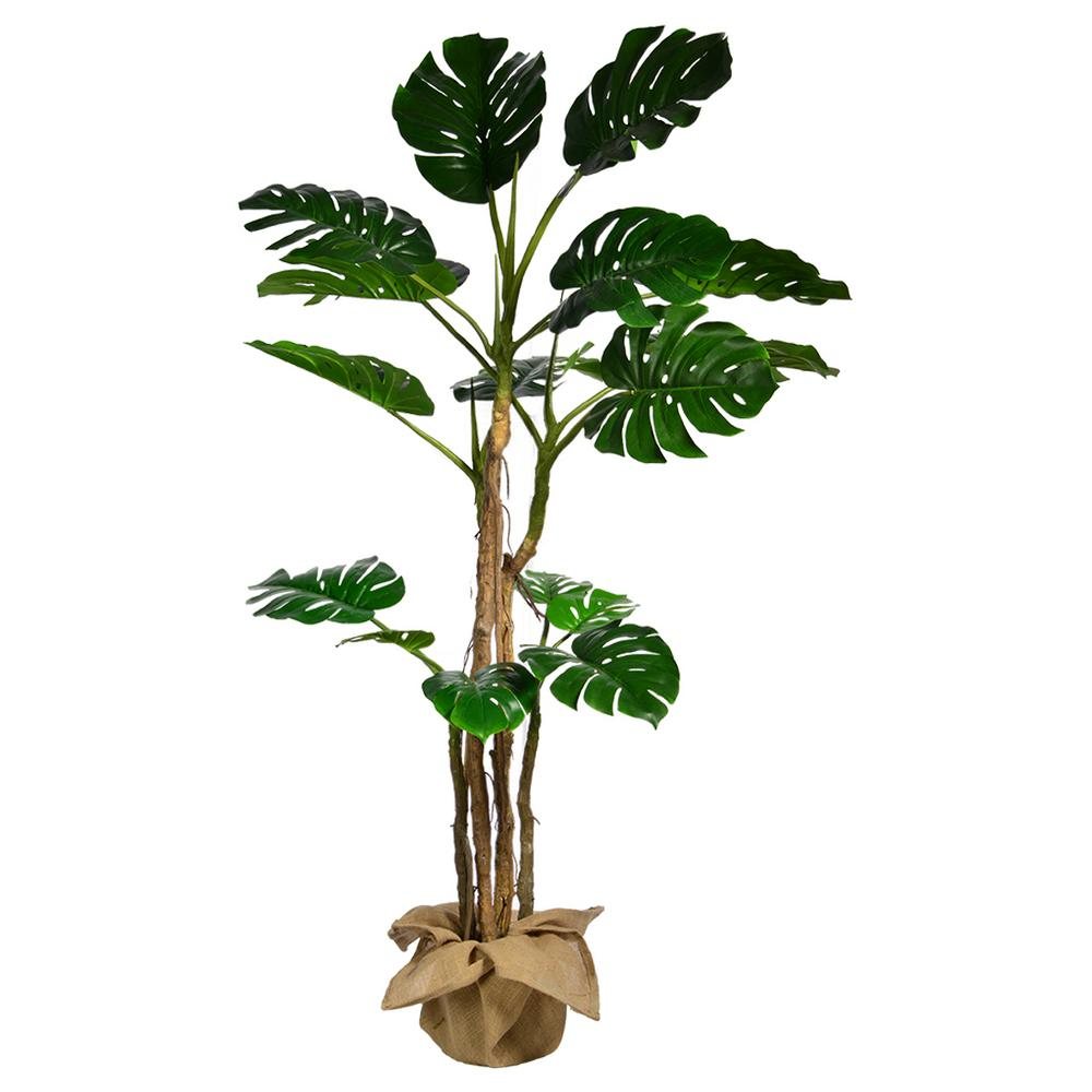 Vintage Home 72 In Tall Monstera Artificial Faux Decor With Burlap Kit Vhx127 The Home Depot
