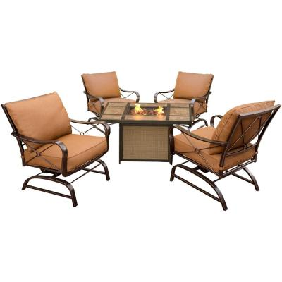 Bradford 5-Piece All-Weather Patio Conversation Set and Tile-Top Fire Pit Table with Desert Sunset Cushions
