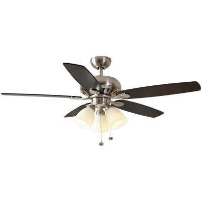Rockport 52 in  LED Brushed Nickel Ceiling Fan with Light Kit