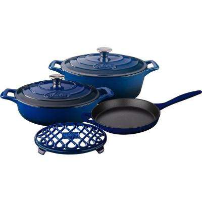 6-Piece Enameled Cast Iron Cookware Set with Saute, Skillet and Oval Casserole with Trivet in Blue