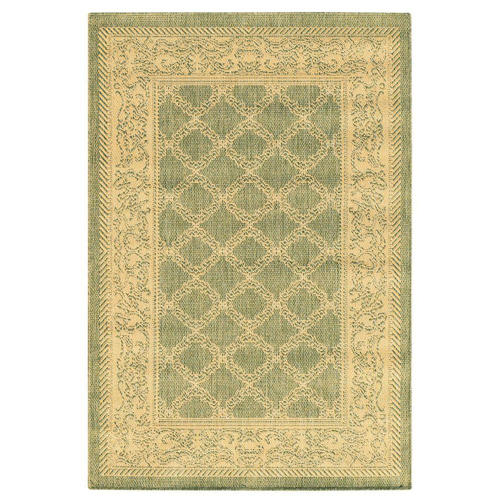 Home Decorators Collection Entwined Natural/Green 5 ft. 9 in. x 9 ft. 2 in. Area Rug