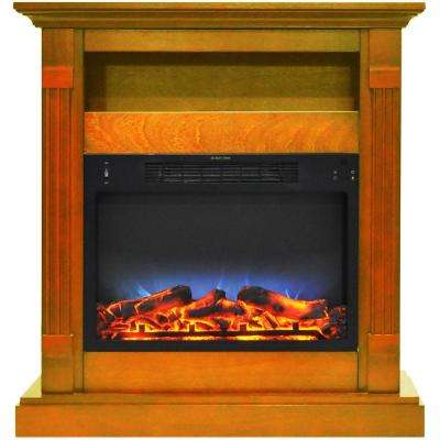 Drexel 34 in. Electric Fireplace with Multi-Color LED Insert and Teak Mantel