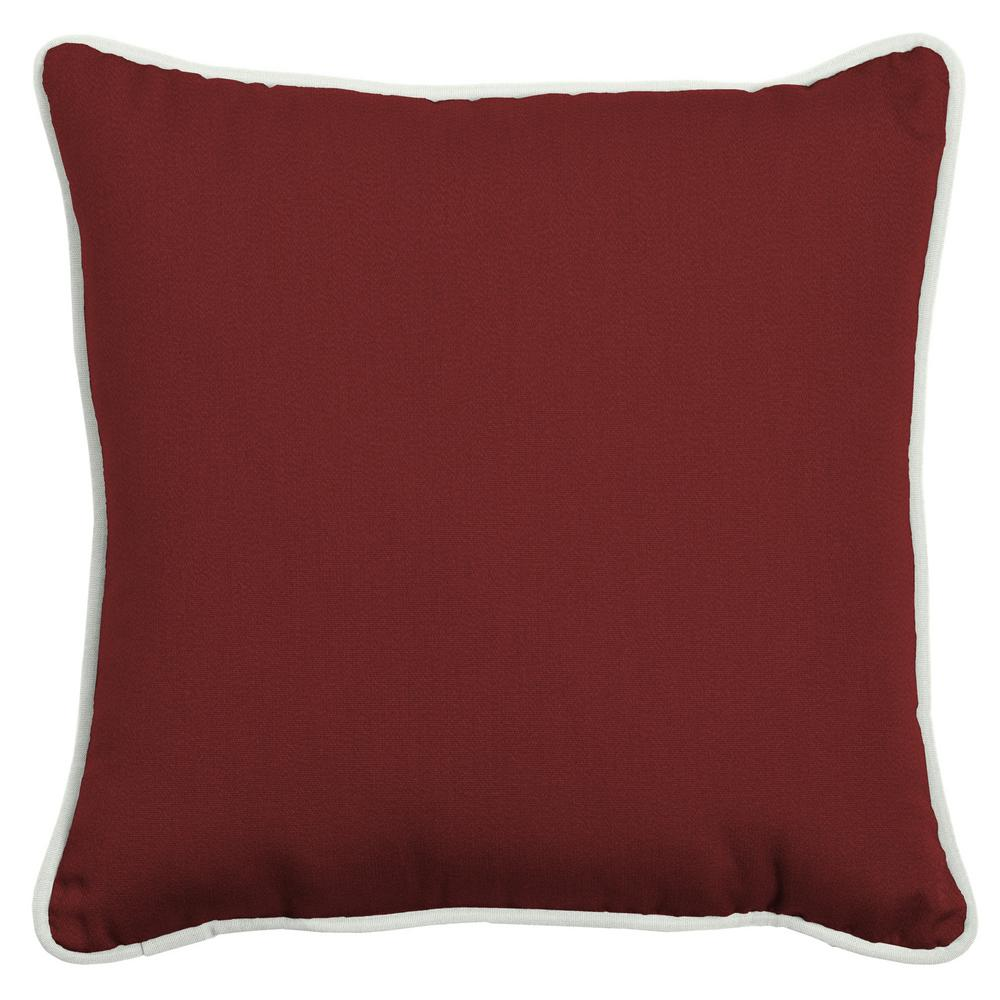 Oasis 20 in. Classic Red Square Indoor/Outdoor Throw Pillow
