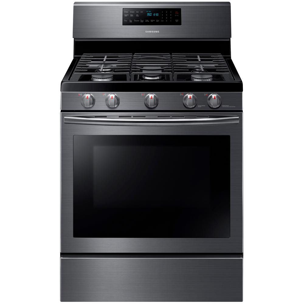 a062eb00c Gas Range with Self-Cleaning and Fan Convection Oven in Fingerprint  Resistant Black Stainless-NX58J5600SG - The Home Depot