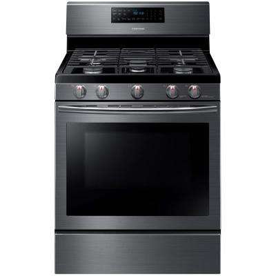 30 in. 5.8 cu. ft. Gas Range with Self-Cleaning and Fan Convection Oven in Black Stainless