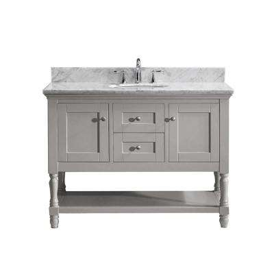 Julianna 49 in. W Bath Vanity in Gray with Marble Vanity Top in White with Round Basin