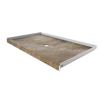 60 in. x 36 in. Single Threshold Shower Base with Center Drain in Mocha Travertine
