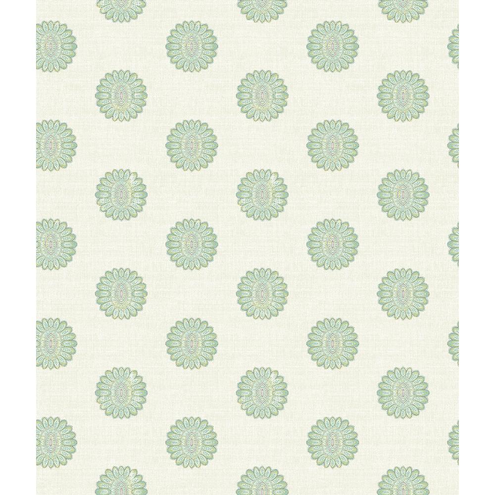 A-Street Lise Turquoise Medallion Wallpaper Sample 2657-22234SAM