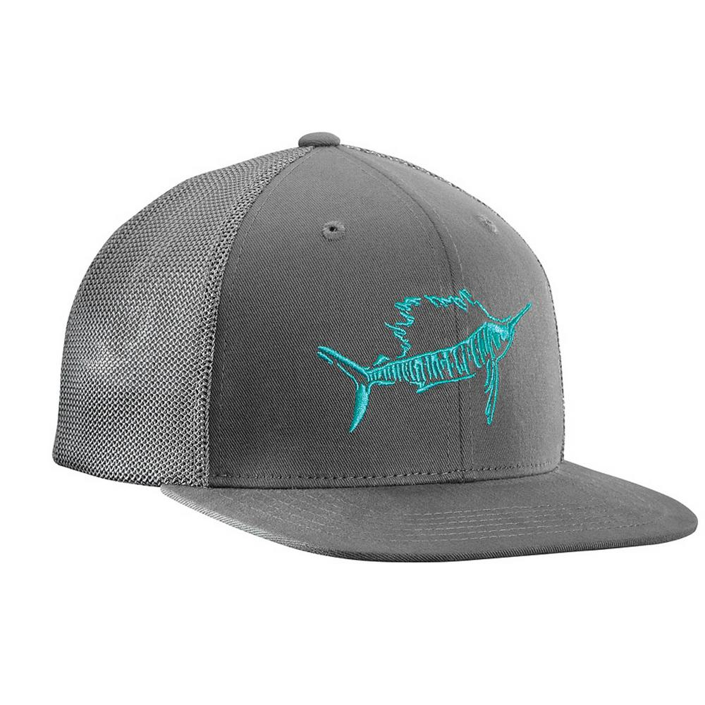 c8d339989d53d Flying Fisherman Sailfish Large X-Large Fitted Trucker Hat Dark Graphite
