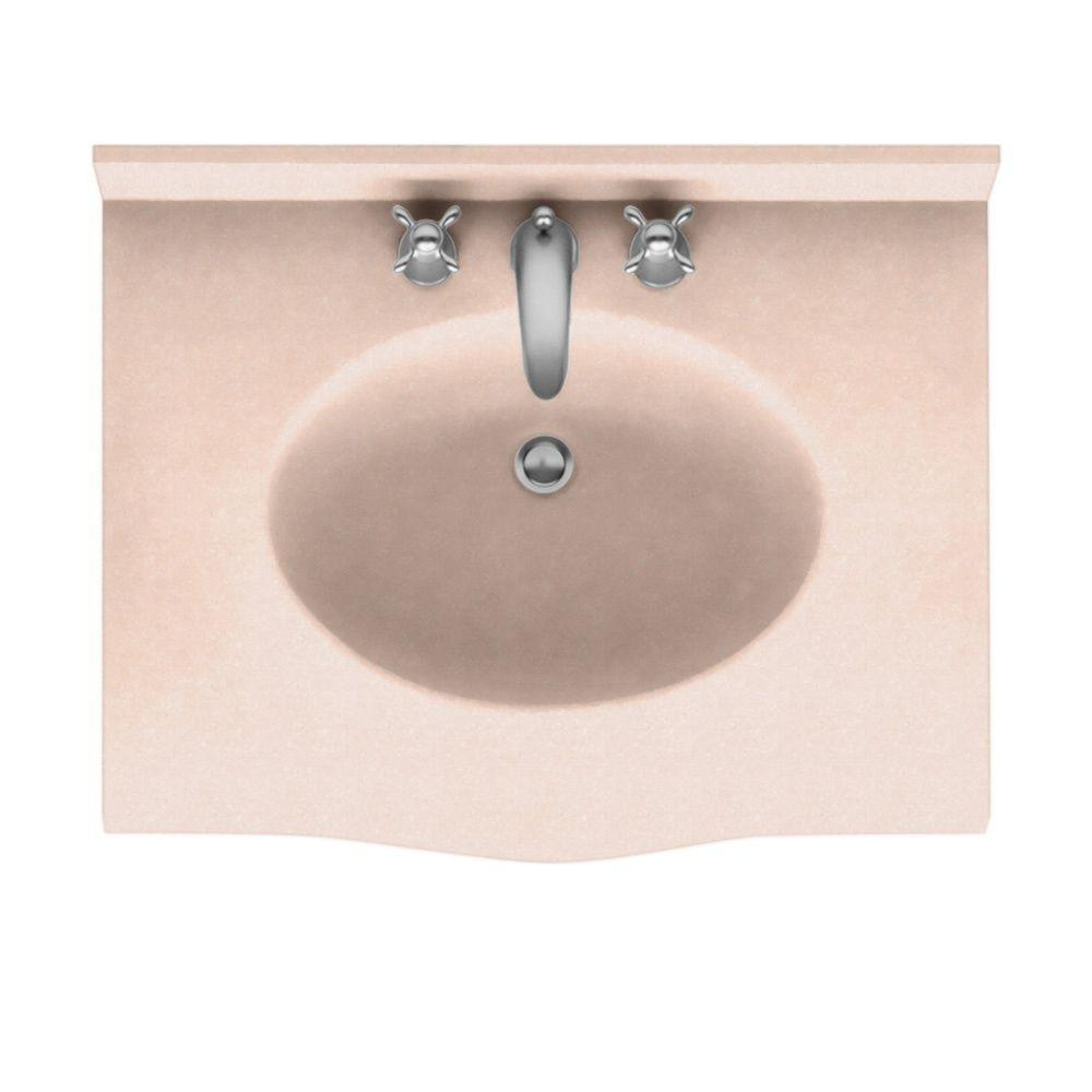 Swanstone Europa 37 in. Solid Surface Vanity Top with Basin in Tahiti Rose-DISCONTINUED