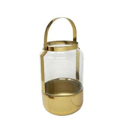 12.5 in. Gold Metal and Glass Lantern