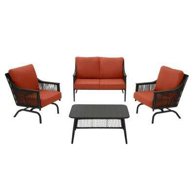 Bayhurst 4-Piece Black Wicker Outdoor Patio Conversation Seating Set with CushionGuard Quarry Red Cushions