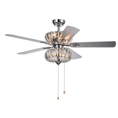Kyana 52 in. Crystal Chrome Ceiling Fan with Light Kit