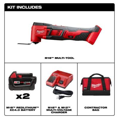M18 18-Volt Lithium-Ion Cordless Oscillating Multi-Tool with Two 4.0 Ah Batteries, Charger and Contractor Bag