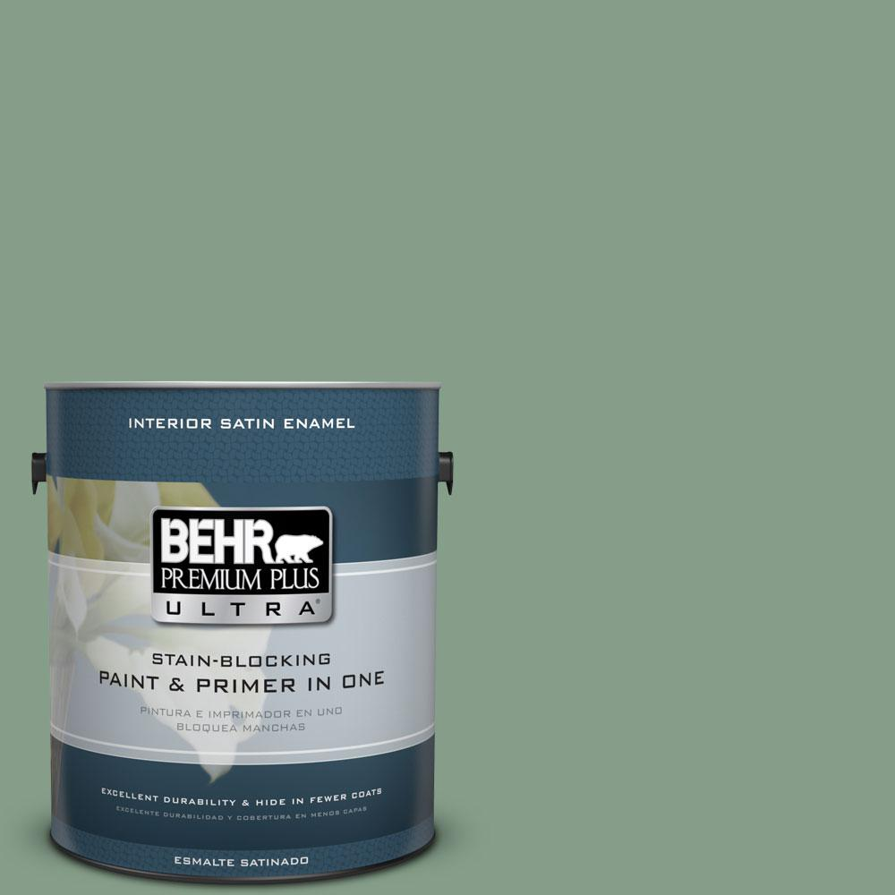 BEHR Premium Plus Ultra 1-gal. #S410-5 Track Green Satin Enamel Interior Paint