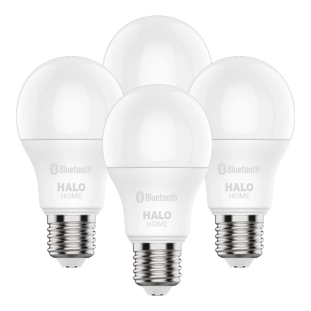Halo Halo 60W Equivalent A19 Dimmable Adjustable CCT (2700K-5000K) Smart Wireless LED Light Bulb in White by Home (4-Pack)