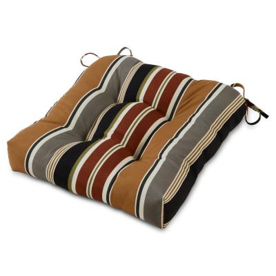 Brick Stripe 20 in. x 20 in. Tufted Square Outdoor Seat Cushion