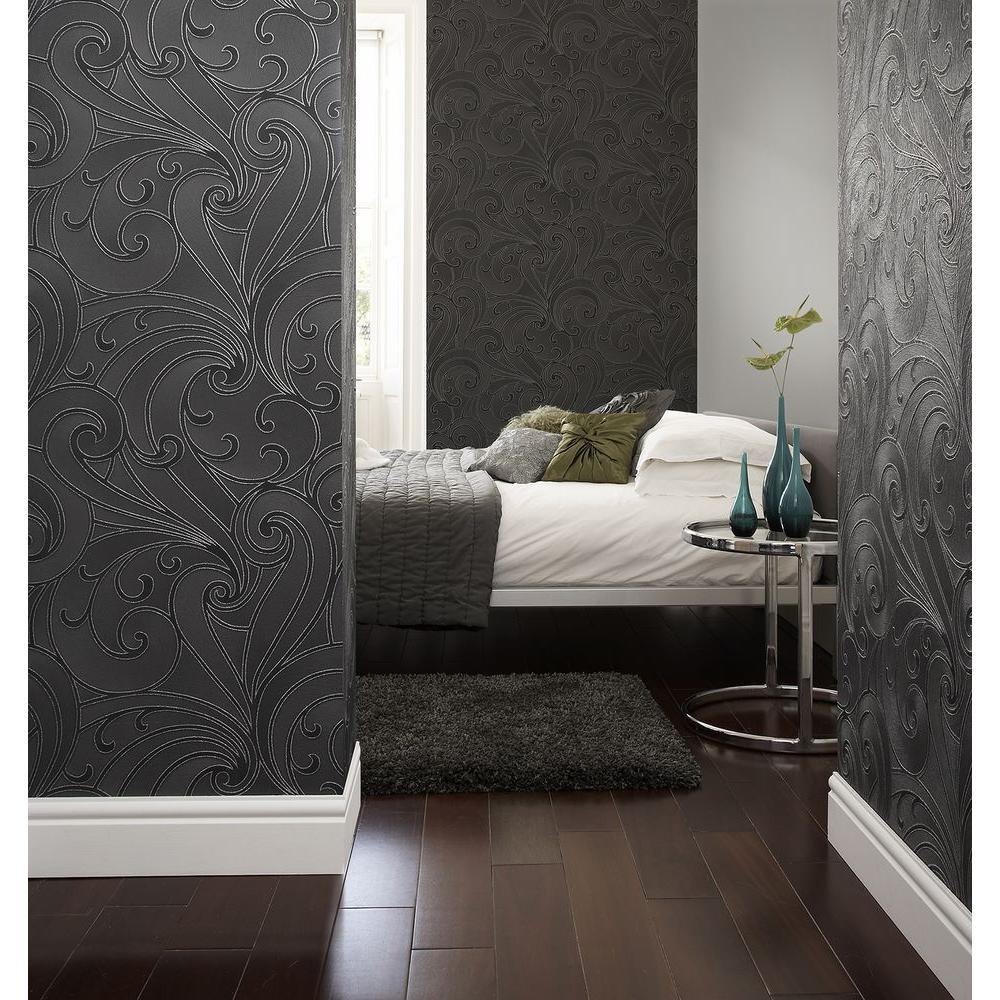 Graham & Brown Saville Black Wallpaper