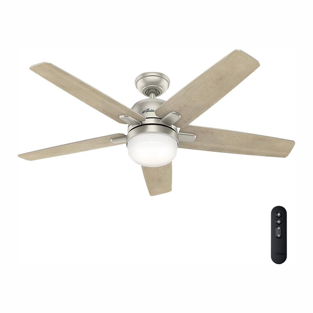 Hunter Cavera Wi-Fi-Enabled Apple HomeKit/Google Home/Alexa 52 in. Indoor Matte Nickel Ceiling Fan with Light Kit & Remote