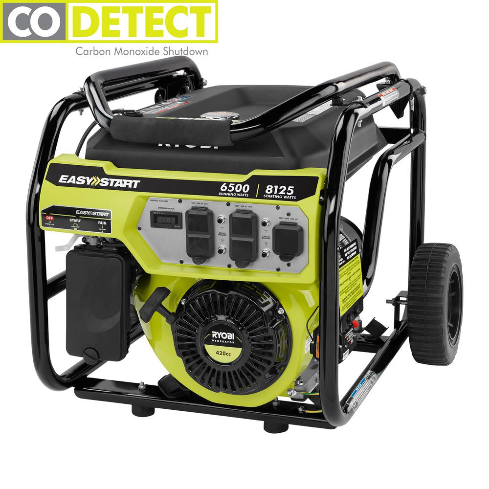 RYOBI 6,500-Watt Gasoline Powered Portable Generator with CO Shutdown Sensor
