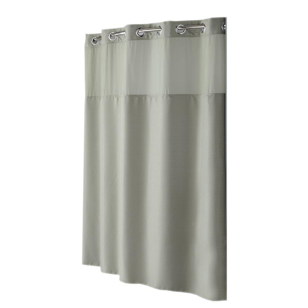 Hookless Shower Curtain Mystery with Peva Liner in Sage Green Diamond Pique