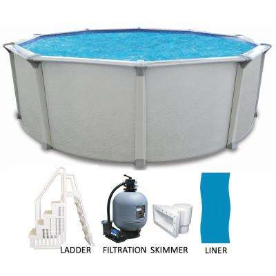 27 ft. Round x 54 in. Deep Above Ground Pool Package with Entry Step System and 7 in. Top Rail