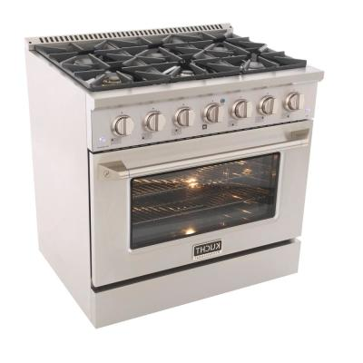 Pro-Style 36 in. 5.2 cu. ft. Natural Gas Range with Convection Oven in Stainless Steel and Silver Oven Door