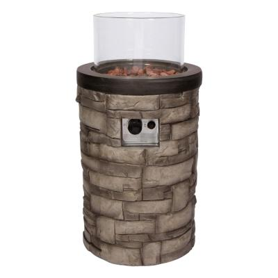 Sevilla Round 18 in. Dia Gray Outdoor Propane Gas Fire Column with Glass Guard and Lava Rocks
