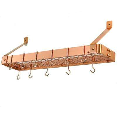 36.25 in. x 9 in. x 11.5 in. Satin Copper Bookshelf Pot Rack with Grid (12 Hooks)