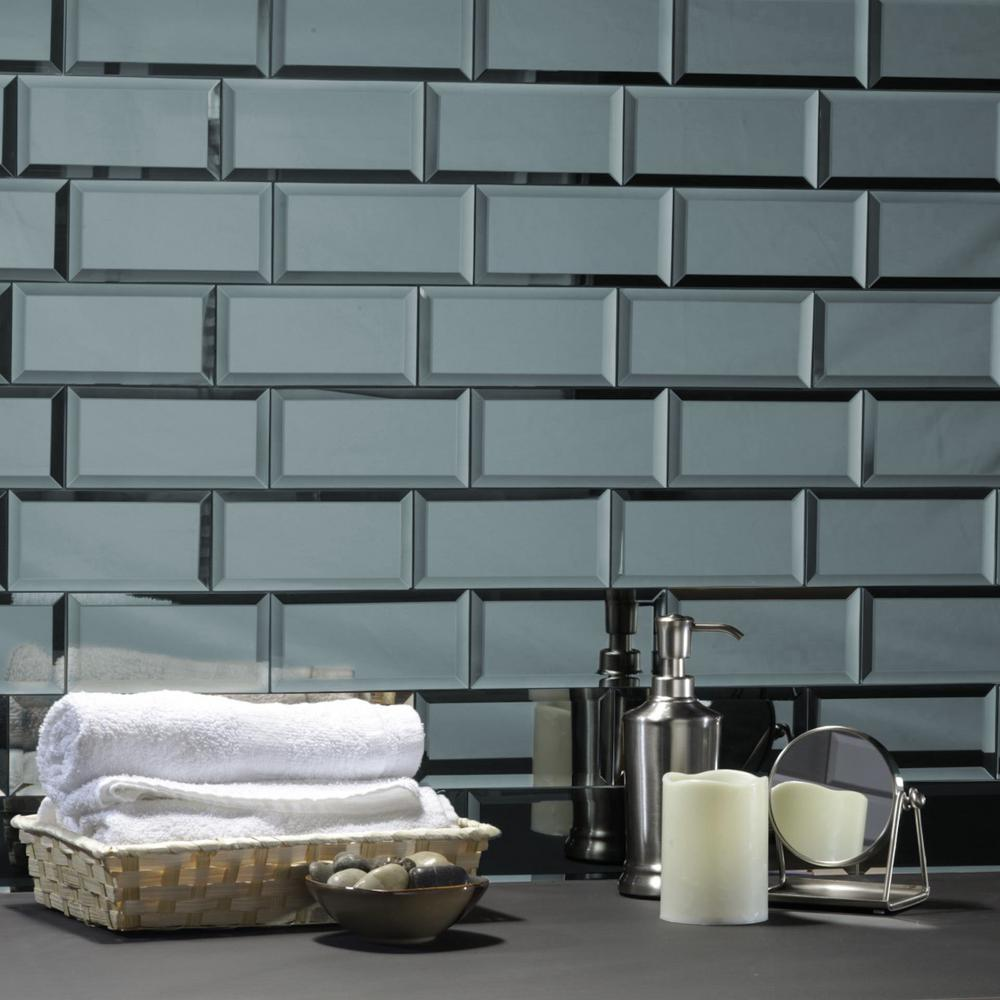 Abolos Reflections Graphite Blue Beveled Subway 3 In X 6 In Glossy Glass Mirror Wall Tile 1 Sq Ft Hmdref0306 Gr The Home Depot