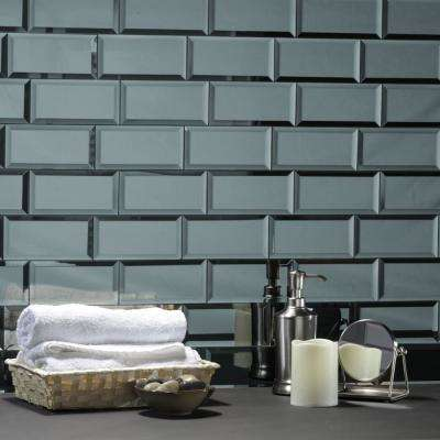 Reflections Graphite Blue Subway 3 in. x 6 in. Glossy Wall Tile Sample