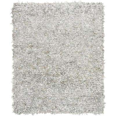 Leather Shag Gray/White 8 ft. x 10 ft. Area Rug